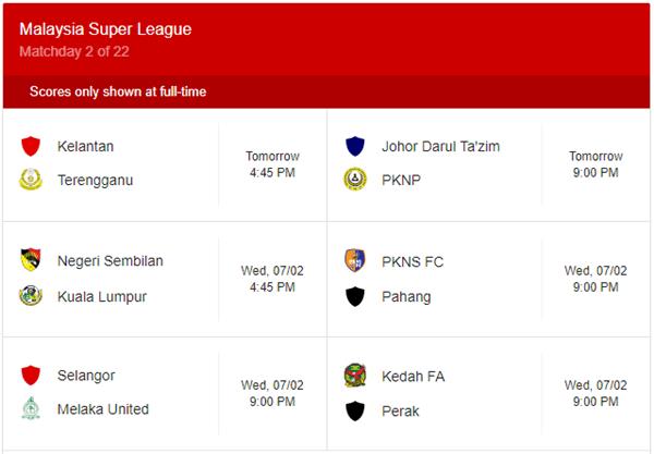 Jadual Terkini Liga Super 2018